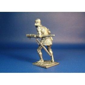 Швейцарский пехотинец с ручницей, XV век оловянная миниатюра